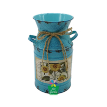 Blue paiting Cute small flower pot Country Chic galvanized metal jug with two handles