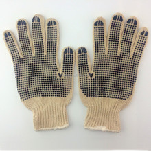 Hot sale brand knit cotton dotting pvc gloves