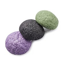 Organic Activated Bamboo Charcoal Facial Puff Konjac Sponge, Facial Skin Care Charcoal Konjac