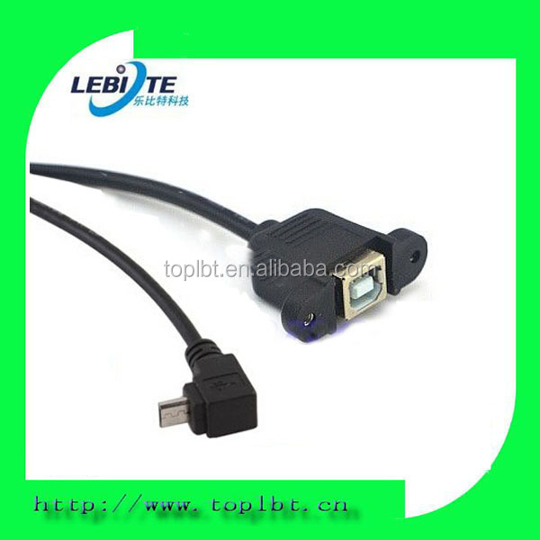 Custom USB Type B Female Panel Mount To Micro 5Pin Male Angle Extension Cable