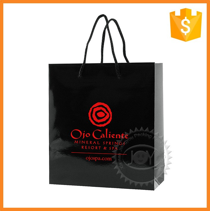 Cheap glossy black paper shopping bags for clothing