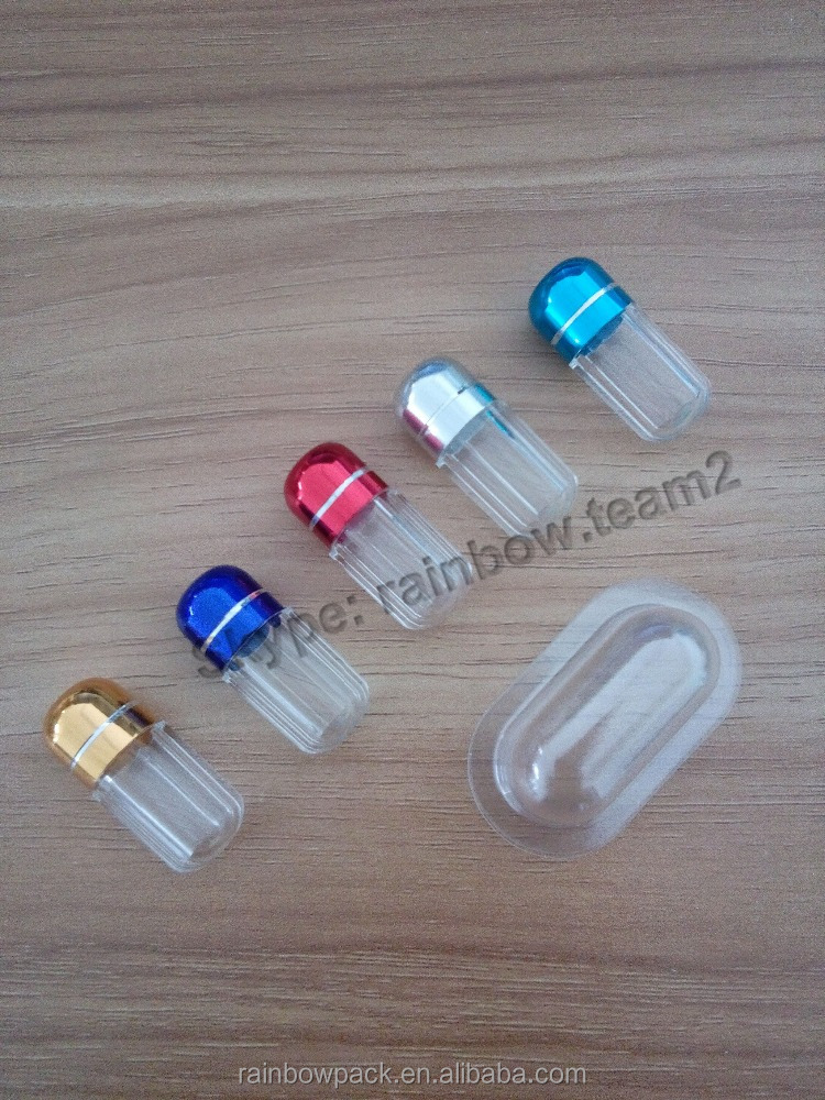 Bule/Red/Black/Gold octagonal shape capsule bottle/bullet/container with aluminum cap, plastic container for Rhino sex pill