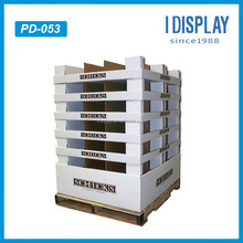 Supermarket merchandise promotion cardboard pallet display racks for clothing