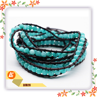 Wholesale China YIWU Beaded Leather Bracelet