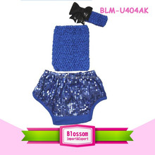 Children kids baba suit wholesale bloomer fancy print panties spandex diaper cover sparkle baby infant sequin bloomers wrap set