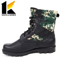 Camouflage Fabric And Black Leather Military Boots