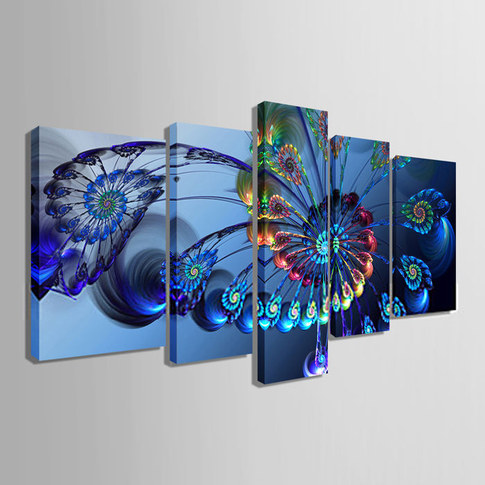 Canvas painting 5 piece art animal painting of peacock for living room canvas prints artwork wall decor