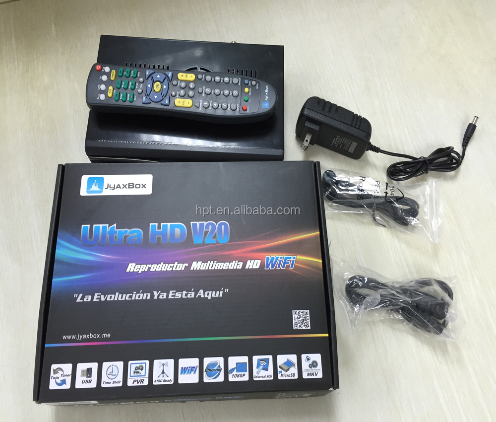 JYAXBOX Ultra HD V20 FTA Satellite TV Receiver With JB200 Wifi a v20 with jb200 and wifi 1080p hd for nort &latin america