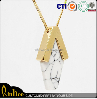 The geometry Turquoise Jewelry Beautiful Gold plated sideways pendant Necklace