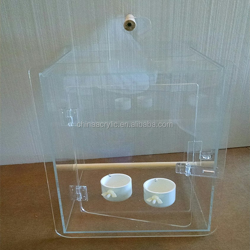 ODM Waterproof Durable Acrylic Bird Cage Plexiglass Bird Feeder And House