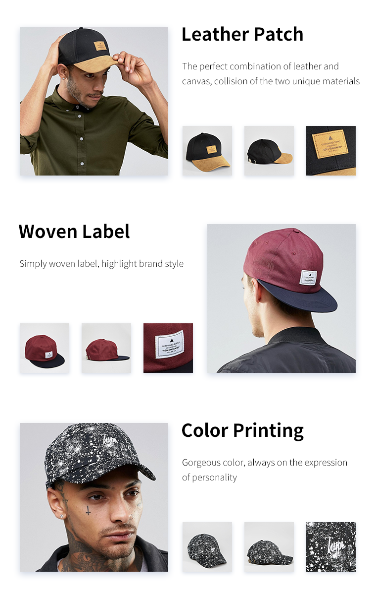 Custom 100% Cotton Quality 3d Puff Embroidery Sandwich Brim 6 Panel Hat