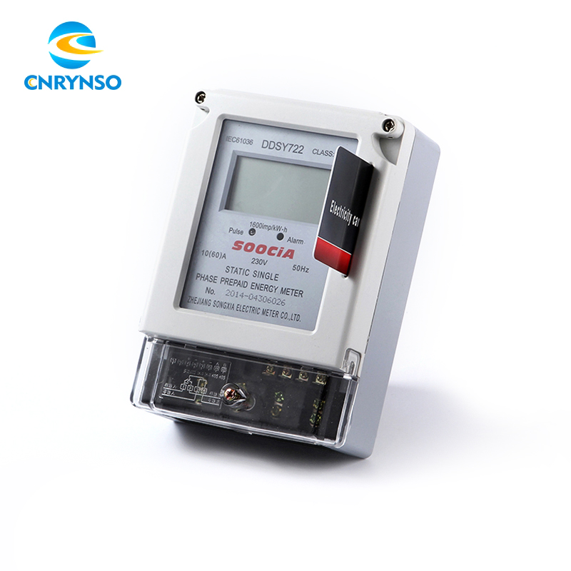 LCD display price management smart card single phase prepaid electric energy meter