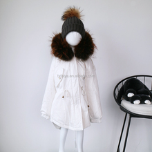 White winter jackets with fur collar 90% goose feather down clothing kids
