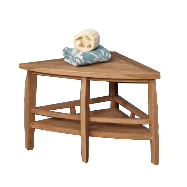 High Quality Wooden Bathroom Corner Shower Stool