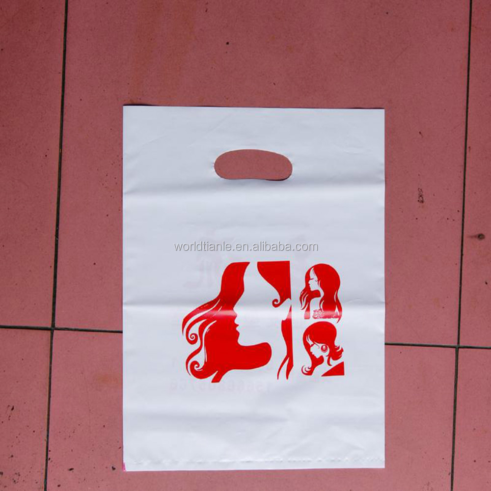 For cloth shoes packing poly die cut shopping bag plastic handle bags
