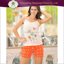 95% Cotton 5% Elastane cotton night wears pajama/lady adult sleepwear suits