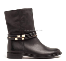 Italian winter smooth leather women trendy half boots flat heel