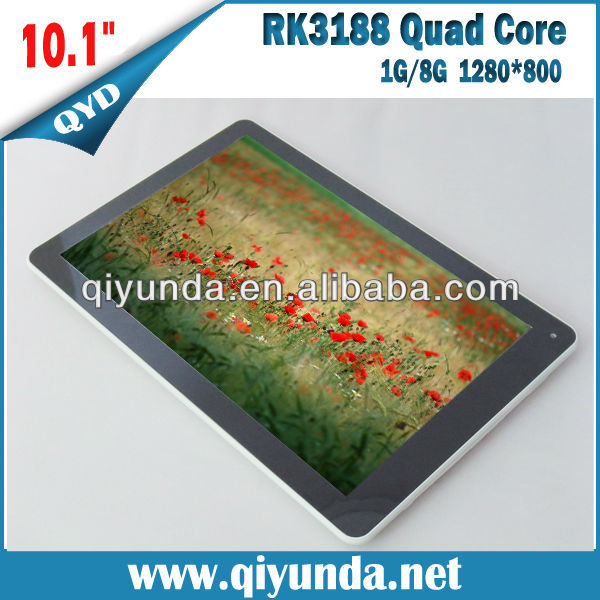 10.1 tablet RK3188 Quad core Android Tablet with 1280*800pixel IPS Panel,1G/8GB Bluetooth 6000mAh Battery
