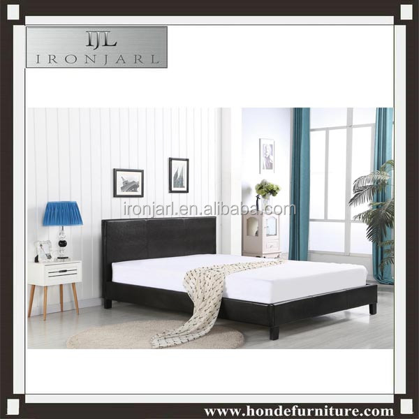 Flat design black faux leather bed
