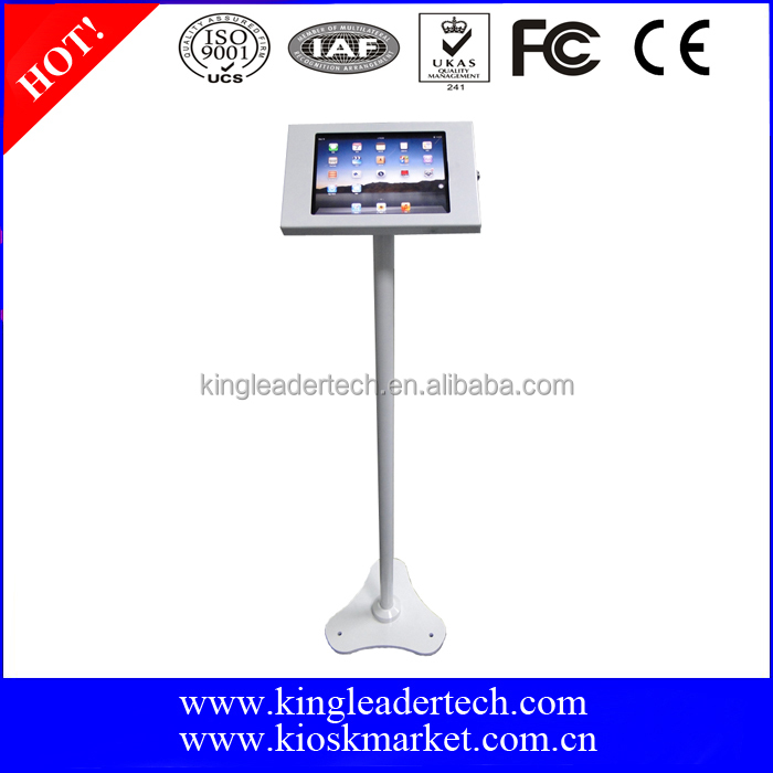 "Freestanding 360 degree rotatable white ipad kiosk stand for apple ipad 9.7"" tablet pc"