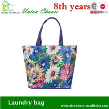 2015 hot wholesale flower printed satin fabric shopping bag for promotion tote bag