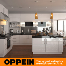 Australia Project Modern Design High Gloss White Lacquer Kitchen Cabinets with Island