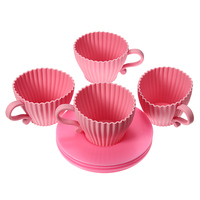 Best Promotion 4pcs Pink Silicone Cupcake Cups Cake Mold Muffin Baking Mould Chocolate Tea Cup Case New Arrvial