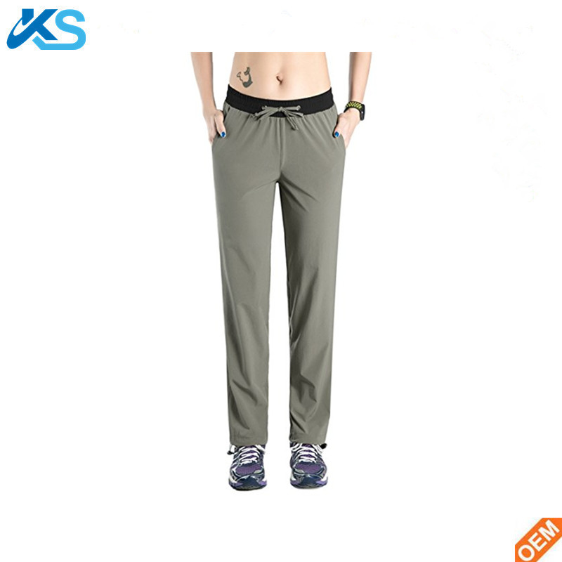 Sport Pants 95%Chinlon 5%Spandex Outdoor Quick Drying Plain Dye Pants with Drawstring Hem Hiking Running Men Pants