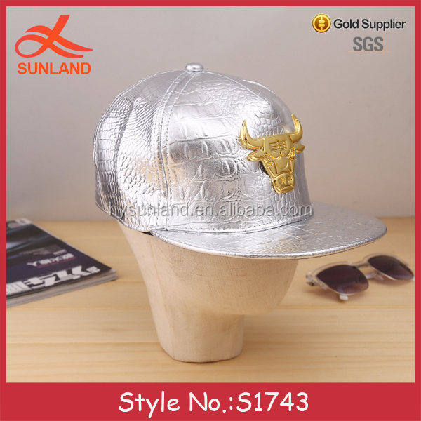 S1743 hot selling crocodile leather custom metal plate ox bull logo band adjustable snapback caps hats wholesale