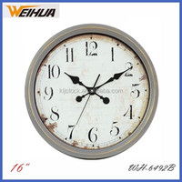 16 inch plastic antique round wall clock with curved glass face