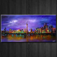 City Downtown New York Modern Picture Hand Painted Abstract Canvas Oil Painting Handmade Wall Art For LivingRoom