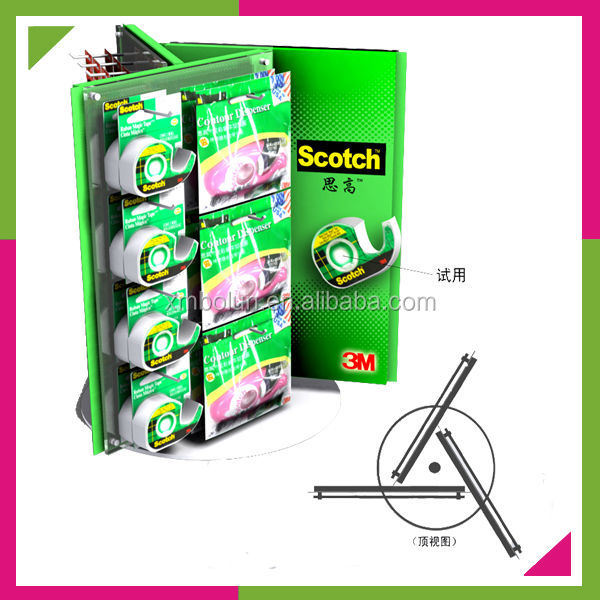 Custom 2014 promotional latest style 3 sided hanging display,metal spinning counter top display rack