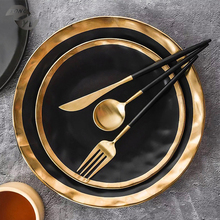 Modern kitchen decorative <strong>plates</strong> and bowls luxury matte black porcelain dinnerware set