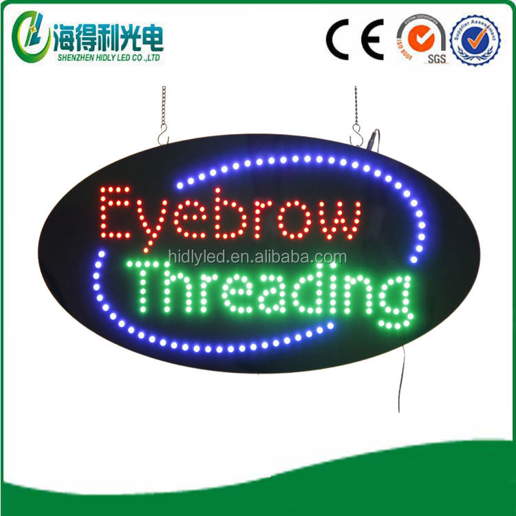 Eyebrow Threading purple led light mysterious colorful sign