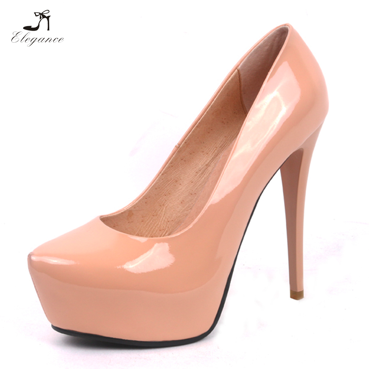 2018 Women Nude Patent Leather Super High Heels 13/16 cm Platform Pumps Sexy Stiletto Shoes