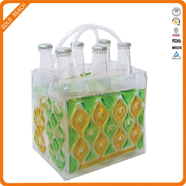 Freezable Green Gold Six Pack Drink Bottle Bag