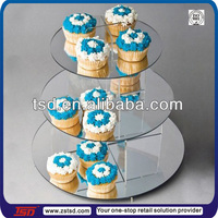 TSD-A285 china factory wholesale retail store acrylic 3 tier cupcake display stand/tiered plastic cake stand/custom cake stand