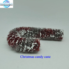 Snow decorated artificial sisal Christmas candy cane for Christmas decoration
