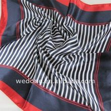 Striped Satin Foulard Scarf for Air Hostess Red/Black