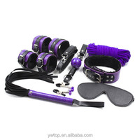 8 Kits Velvet Bondage Body Restraints handcuffs eyepatch Whip Nipple clamps rope Mouth Gag Adult Game sex Toy