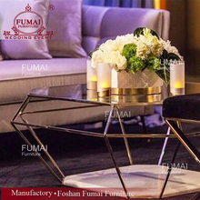 Luxury design glass top gold stainless steel coffee table