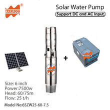 7500W AC380V DC530V 6 inch deep well solar water pump with permanent magnet synchronous motor max flow 40 T/H for home&farm