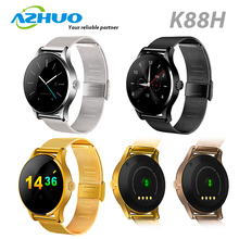 "High Quality 1.22"" IPS Round Screen MTK2502 Heart Rate Monitor Waterproof Smart Watch K88H For Android and IOS"
