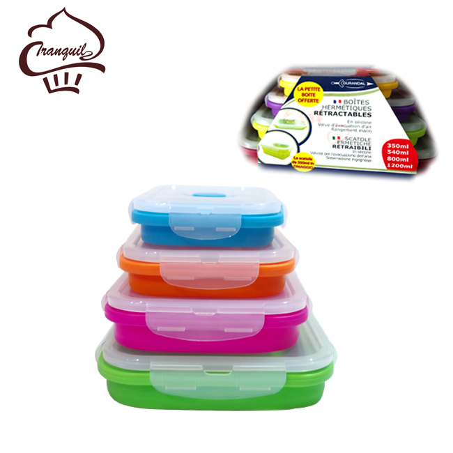 Microwave Safe Silicone Set of 4 Small and Large Collapsible Box Meal Prep Container(350ML , 500ML , 800ML , 1200ML)