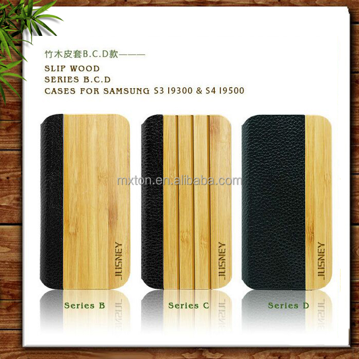 Top Quality Wooden Leather Bulk Cell Phone Case for Samsung S4 I9500 Attractive Design Natural Bamboo Wood Case
