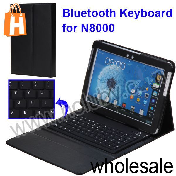 Wireless Bluetooth Keyboard+Lichee Pattern Folio Stand Leather Case for Samsung Galaxy Note 10.1 N8000