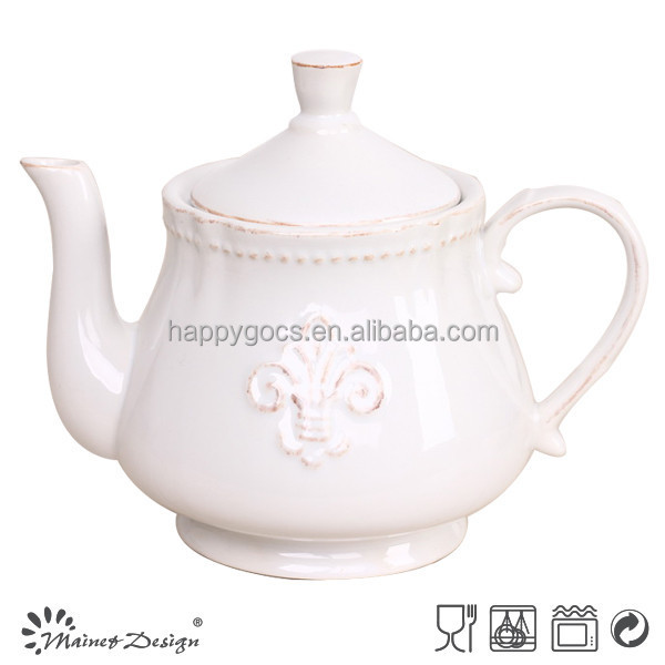 Cheap price Ceramic water pot,China Wholesale stoneware embossed water pot
