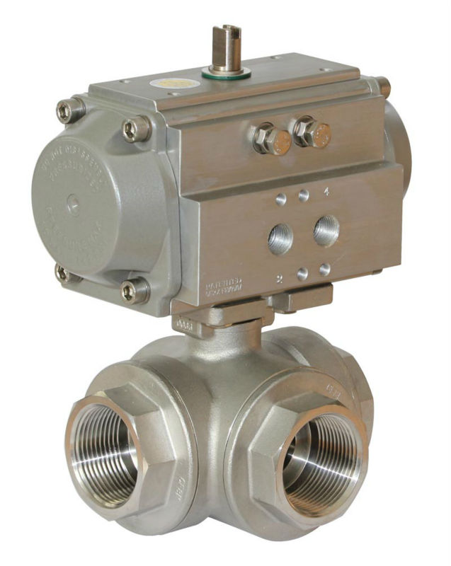 3-way stainless steel threaded ball valve double acting