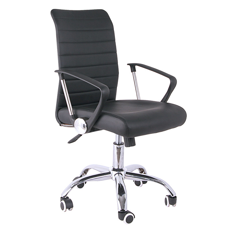 Adjustable height leather work chair