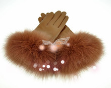 New Product Fashion 100% Genuine Sheepskin Fox Fur Lined Leather Gloves Winter Gloves